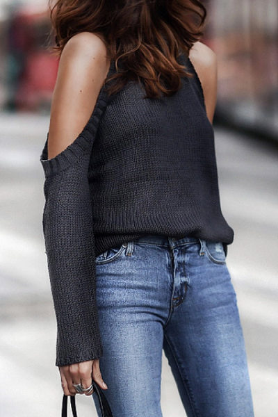 Casual Off-The-Shoulder Crew Neck Sweater