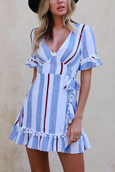 V Neck  Striped  Short Sleeve Bodycon Dresses