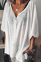 Cotton and linen solid color casual top