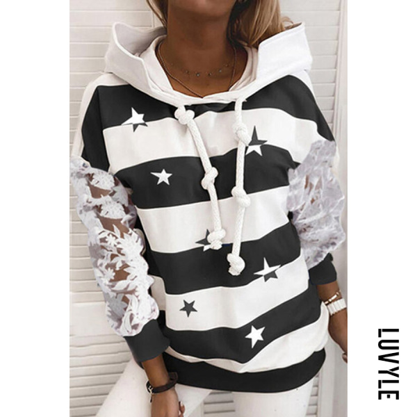 Black Star Striped Lace Sleeve Hoody Black Star Striped Lace Sleeve Hoody