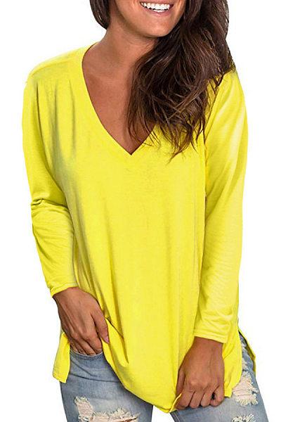 V Neck Long Sleeve Plain T-shirt