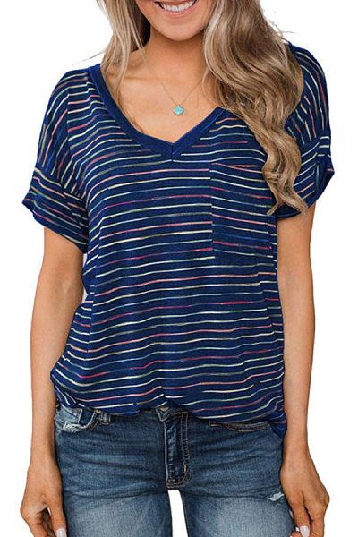 V Neck  Striped T-Shirts