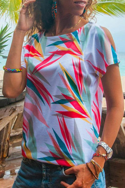 Round Neck Open Shoulder Sleeve Coloring T-shirt
