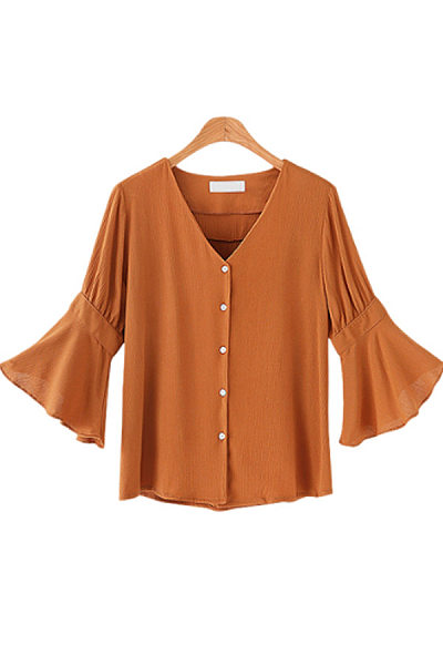 V Neck  Single Breasted  Plain  Bell Sleeve  Blouses