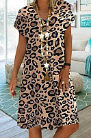 V Neck Short Sleeve Leopard Casual Dress