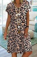 V Neck Short Sleeve Leopard Casual Dress