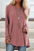 Casual Round Neck Long Sleeve Loose-Fitting Plain T-Shirt