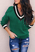 V Neck  Patchwork Plain Sweaters