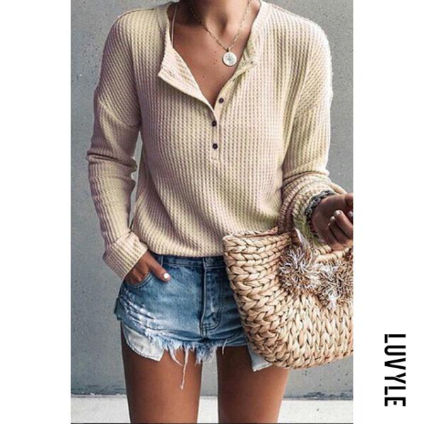 Khaki Jewel Neck Long Sleeve Pure Color T-Shirt Khaki Jewel Neck Long Sleeve Pure Color T-Shirt