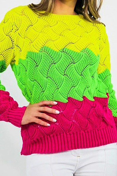 Casual  Colouring  Long Sleeve Sweaters