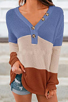Color Block Striped Casual Sweater