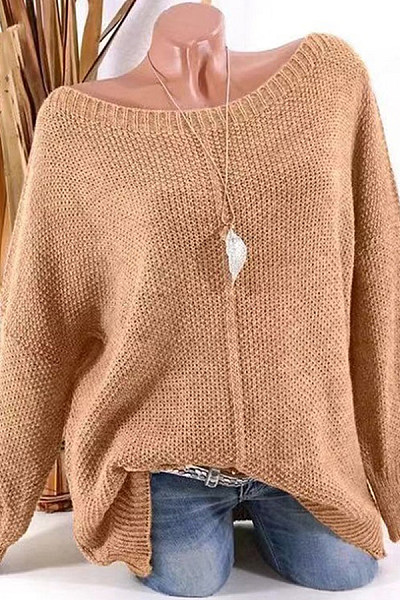 Round Neck Long Sleeve Knitting Sweaters