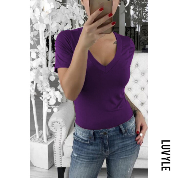 Purple V Neck Plain T-Shirts Purple V Neck Plain T-Shirts