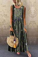 Round Neck Sleeveless Printed Maxi Dress