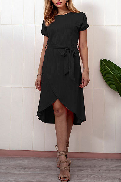 Round Neck  Belt  Plain  Short Sleeve Casual Dresses