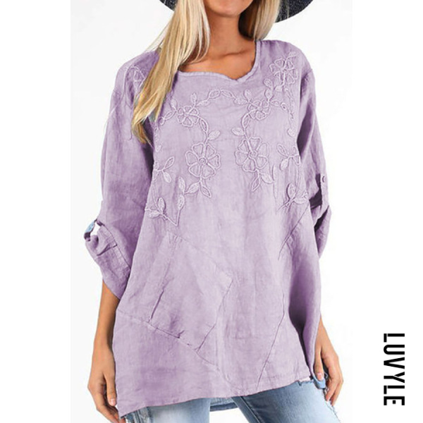 Women's Solid Color Embroidered Shirt