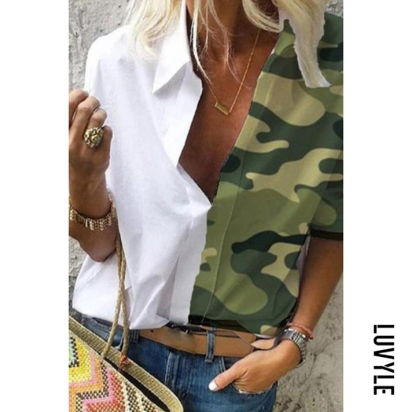 Camouflage Printed Splice Loose Blouse