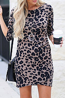 Round Neck  Leopard Printed  Three Quarter Sleeve Bodycon Dresses