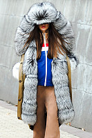 Fashion Stitching Imitation Mane Hooded Fluffy Coat