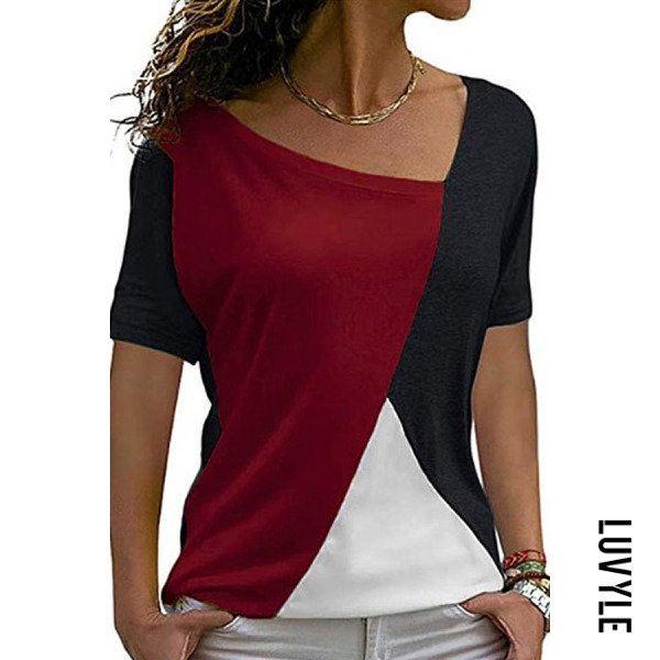 Red Asymmetric Neck Patchwork Color Block Short Sleeve T-Shirts Red Asymmetric Neck Patchwork Color Block Short Sleeve T-Shirts