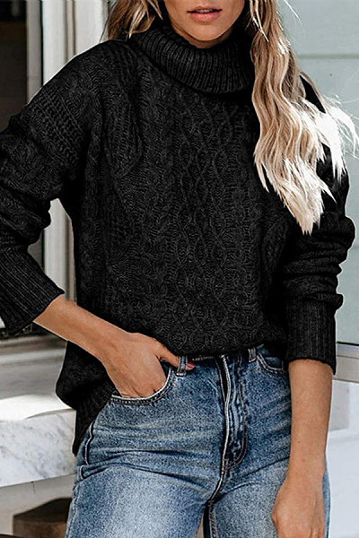 High Collar Solid Casual Sweater