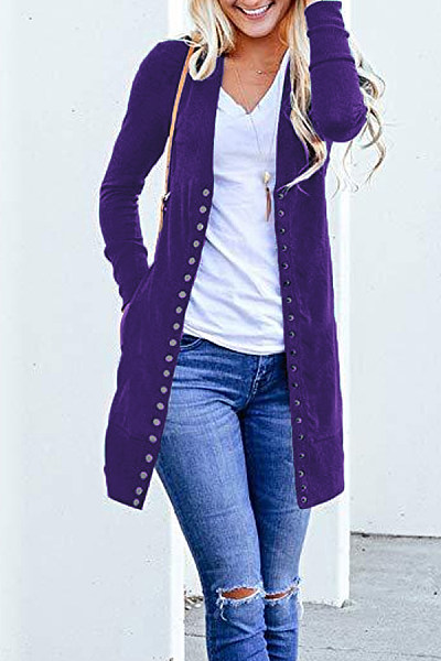 Band Collar  Single Breasted  Plain Cardigans