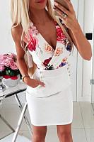 V Neck  Printed  Sleeveless  Elegant Bodycon Dresses