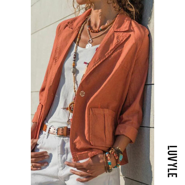 Fold Over Collar Solid Collar Patch Pockets Blazers