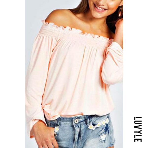 Pink Off Shoulder Plain T-Shirts Pink Off Shoulder Plain T-Shirts