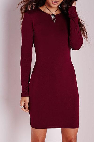 Round Neck  Plain Bodycon Dresses