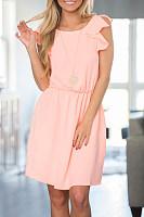 Round Neck Elastic Waist Plain Sleeveless Casual Dresses