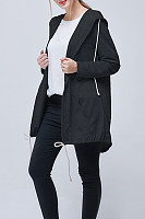 Hooded  Drawstring  Plain Outerwear