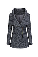 Fitted Lapel Zips Woolen Coats