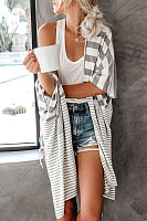 Casual Round Neck Batwing Sleeve Stripe Sweaters