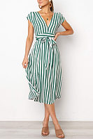 Deep V Neck  Belt  Striped Maxi Dresses
