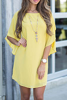 Chiffon Plain Three Quarter Sleeve Casual Dresses