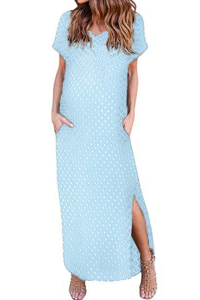 V Neck  Dot  Short Sleeve Maxi Dresses