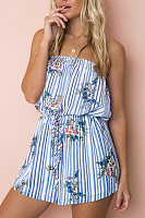Strapless  Backless  Abstract Print  Sleeveless  Playsuits