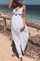 Spaghetti Strap  Bowknot  Plain  Sleeveless Maxi Dresses