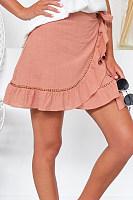 Drawstring  Plain  Basic Skirts