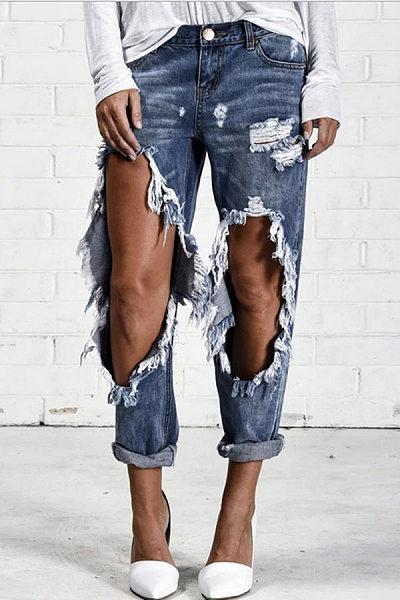Broken Holes Single Button Jeans