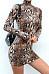 High Neck  Animal Printed  Long Sleeve Bodycon Dresses