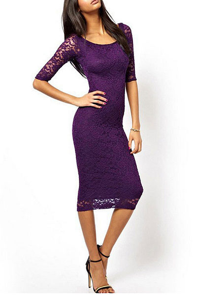 Round Neck Lace Sheath Three Quarter Sleeve Bodycon Dresses