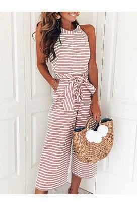 b57b6bf58a45 striped vacation sleeveless casual jumpsuit