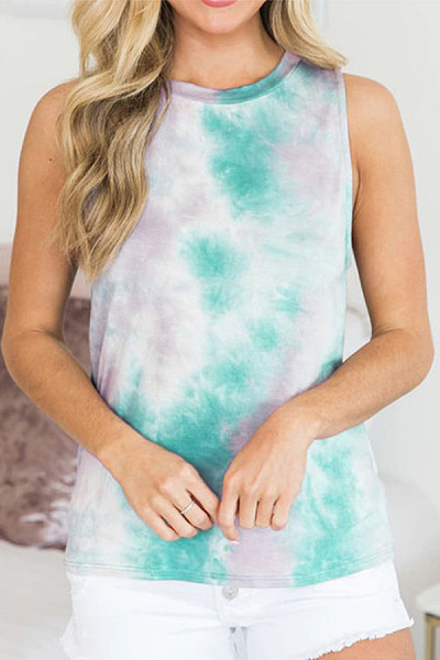 Round Neck Dyed Printed Casual Camis
