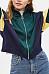 Fold Over Collar  Zipper  Patchwork Jackets