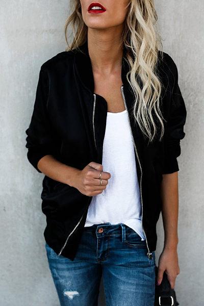 Zipper Sport  Plain Jackets