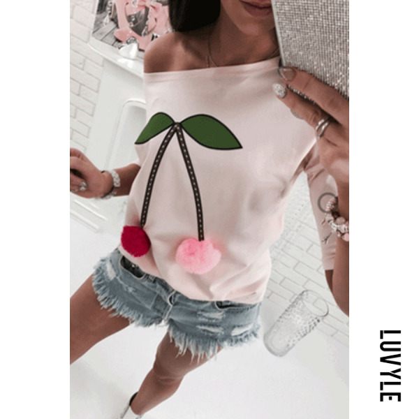 Pink One Shoulder Cherry Printed T-Shirts Pink One Shoulder Cherry Printed T-Shirts