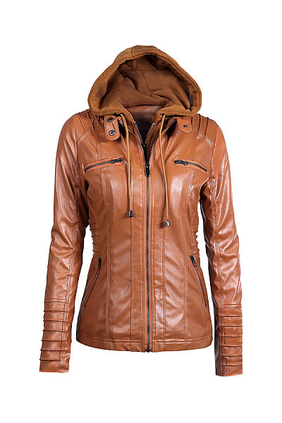 Fold Over Collar  Zipper  Detachable Hood  Patchwork Jackets