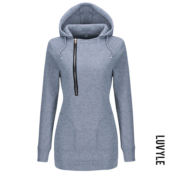 Gray Patch Pocket Zips Plain Hoodie Gray Patch Pocket Zips Plain Hoodie